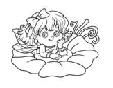 Dibujo de Hada sobre una flor