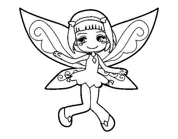 Dibujo de Hada voladora para Colorear