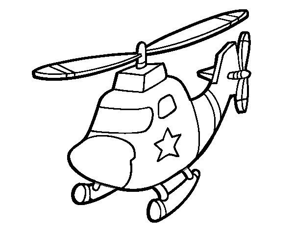 Dibujo de Helicóptero con una estrella para Colorear ...