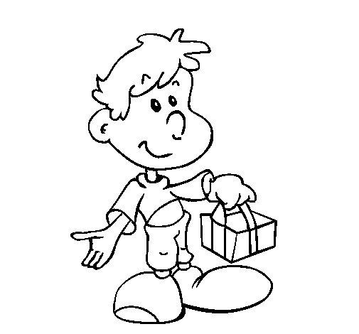 Dibujo de Hijo con un regaldo para Colorear