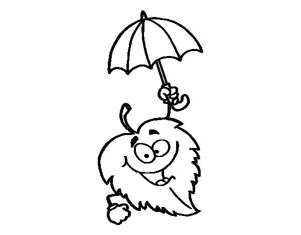 Dibujos De Paraguas Para Colorear E Imprimir: Dibujo De Hoja Con Paraguas Para Colorear