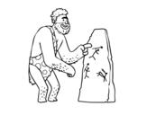 Dibujo de Hombre prehistórico con pinturas rupestres