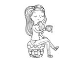 Dibujo de Hora del té para colorear