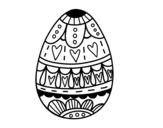 Dibujo de Huevo de Pascua con corazones para colorear