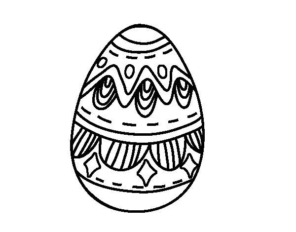 Dibujo de Huevo de Pascua con Rombos para Colorear