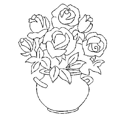 Dibujo de Jarrón de flores 1 para Colorear