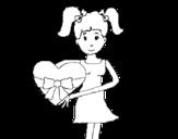 Dibujo de Jovencita corazón para colorear