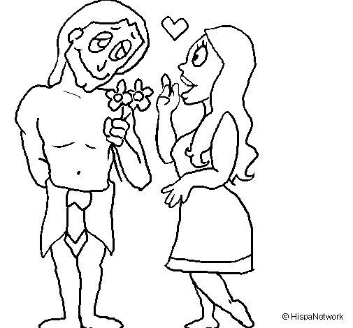 Dibujo de Jóvenes mayas enamorados para Colorear