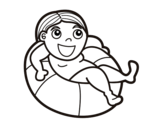 Dibujo de Jugar con el flotador para colorear
