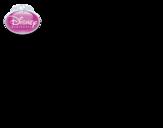 Dibujo de La Bella Durmiente - Aurora con una rosa para colorear