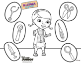 Dibujo de La doctora juguetes y sus instrumentos para colorear