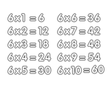Dibujo de La Tabla de multiplicar del 6