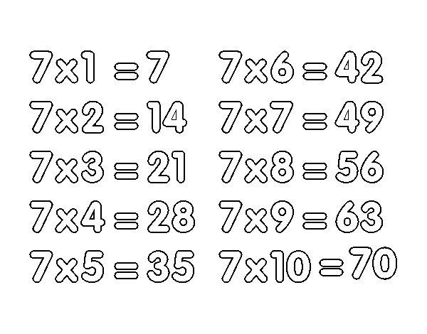Dibujo de La Tabla de multiplicar del 7 para Colorear