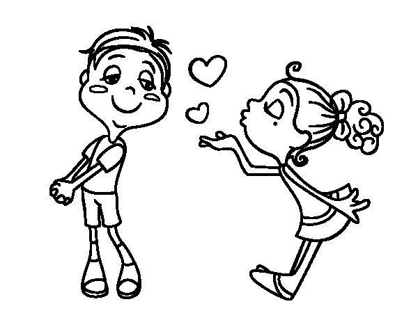 Dibujo de Lanzar un beso para Colorear