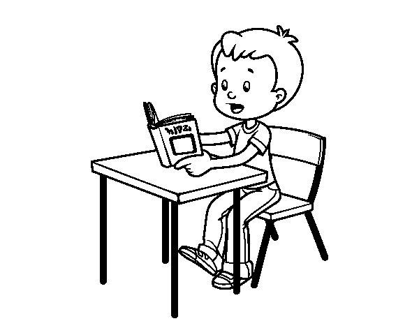 Dibujos De Colegios Para Colorear E Imprimir: Dibujo De Lecturas De Colegio Para Colorear