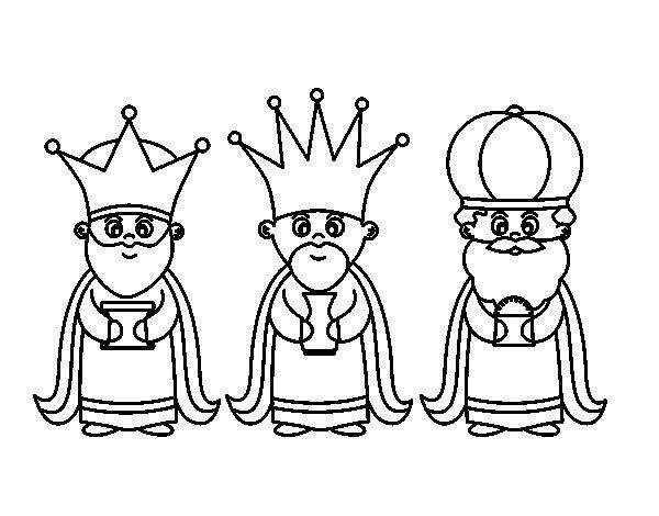 Dibujo de Los 3 Reyes Magos para Colorear - Dibujos.net