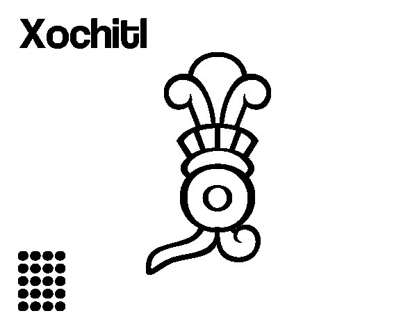 Dibujo de Los días aztecas: la flor Xochitl para Colorear