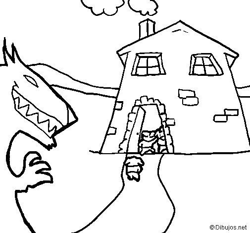 dibujo colorear tres cerditos: