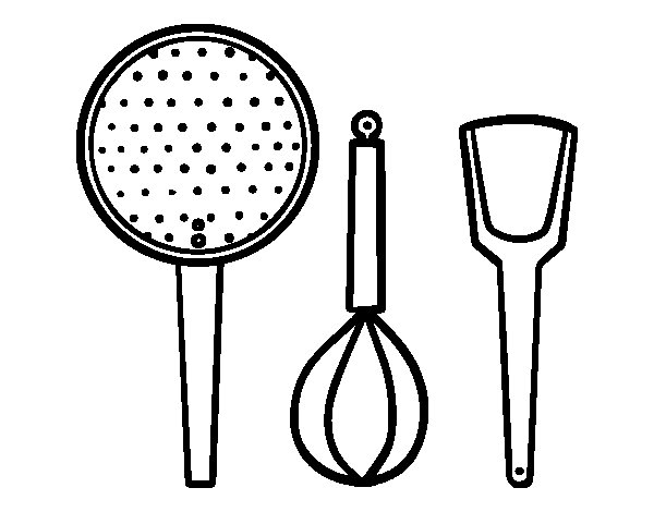 Dibujo de los utensilios de cocina para colorear for Dibujos de cocina