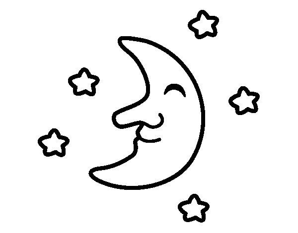Dibujo de Luna con estrellas para Colorear