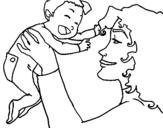Dibujo de Madre con su bebe 1 para colorear