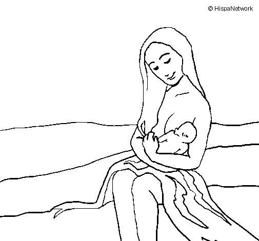 Dibujo de Madre con su bebe para Colorear