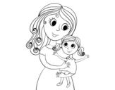 Dibujo de Madre con su hija para colorear