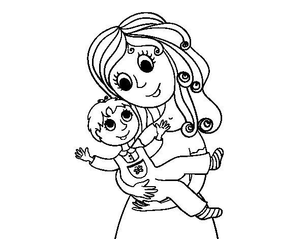 Dibujos Para Colorear Madre E Hija Madre E Hija Para Colorear