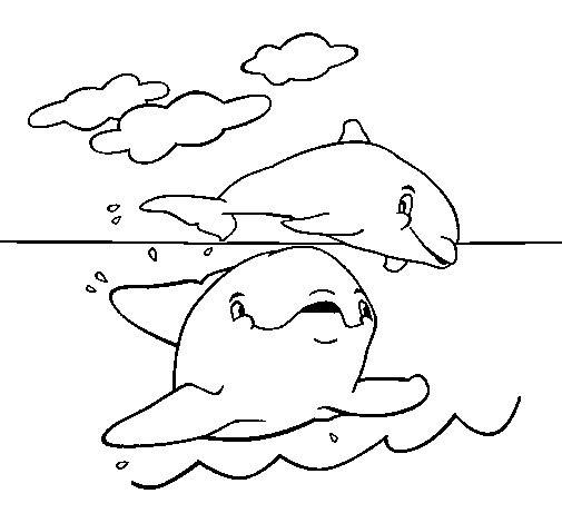 Dibujo de Madre e hijo delfín para Colorear