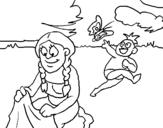 Dibujo de Madre e hijo mayas para colorear