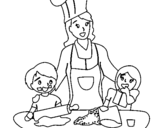 Dibujo de Mama cocinera