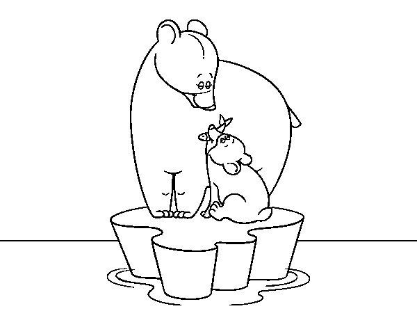 Dibujo de Mama osa con su hijo para Colorear