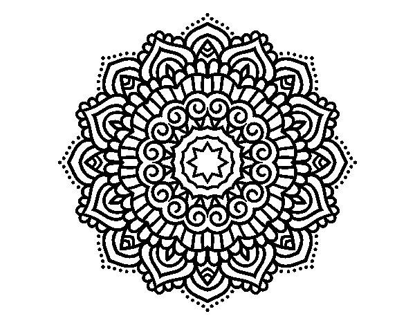 Pagina Para Colorear Mandala Mandalas Dibujos Para: Dibujo De Mandala Estrella Decorada Para Colorear