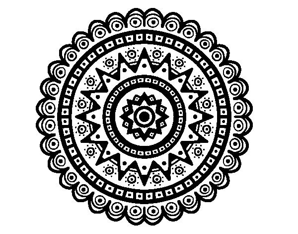 Dibujo de Mandala étnica para Colorear - Dibujos.net