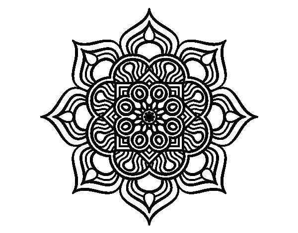 Dibujo de Mandala flor de fuego para Colorear