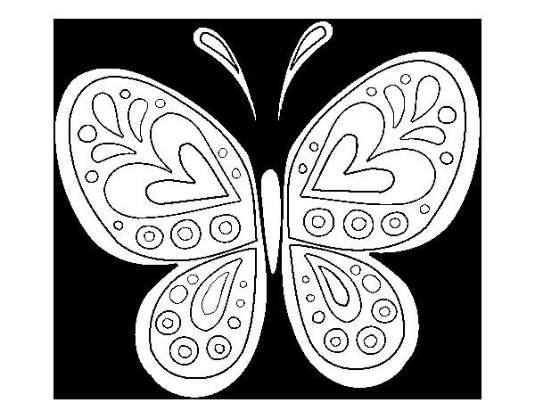 Dibujo de Mandala mariposa para Colorear