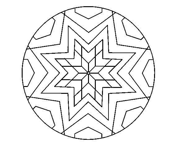 Dibujos De Estrellas Para Colorear E Imprimir: Dibujo De Mandala Mosaico Estrella Para Colorear