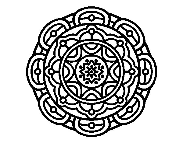 Dibujo de Mandala para la relajación mental para Colorear