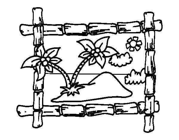 Dibujo de marco con palmeras para colorear - Marcos de fotos para pintar ...