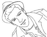 Dibujo de Mario Casas con un sombrero para colorear