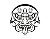 Dibujo de Máscara azteca para colorear
