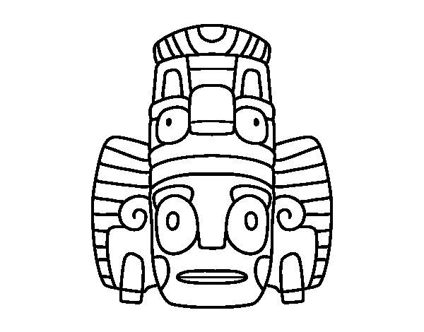 Dibujo de Máscara mexicana de rituales para Colorear