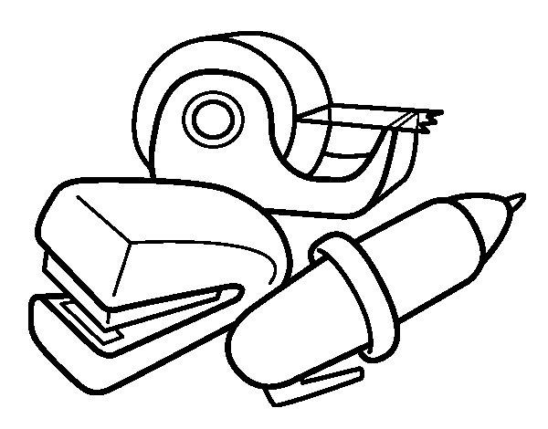 Dibujo de material de colegio para colorear - Materiales para pintar ...
