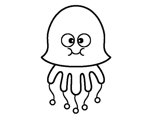 Medusa Divertida on Imagenes Peces Colorear