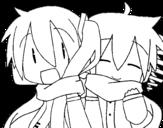 Dibujo de Miku y Len con bufanda para colorear