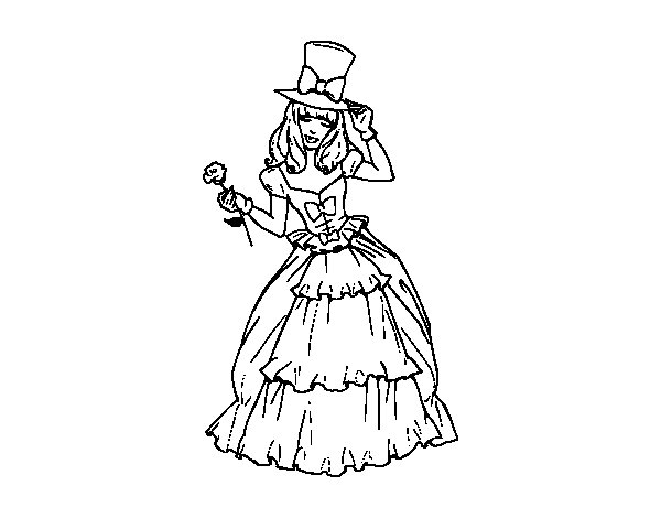 Dibujo de moda de poca para colorear for Dibujos de disenos de moda
