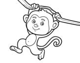 Dibujo de Mono colgado de una rama para colorear