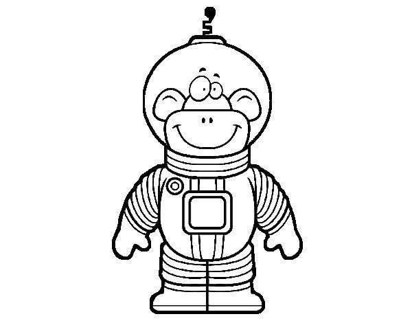 Dibujo de Mono espacial para Colorear
