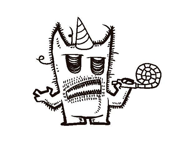Dibujo de Monstruo celebrando su cumpleaños para Colorear