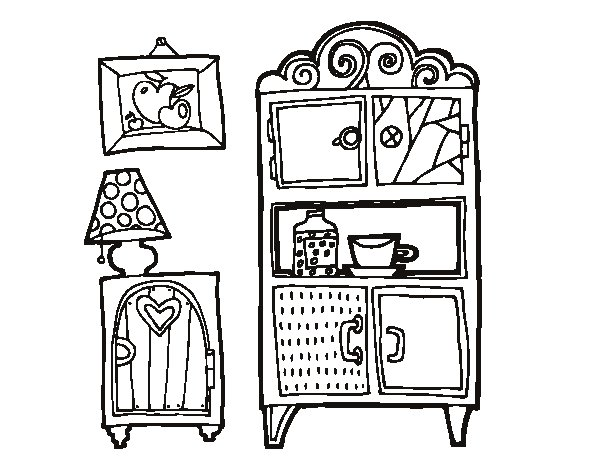 Dibujo de muebles de sal n para colorear for Disegni di mobili contemporanei